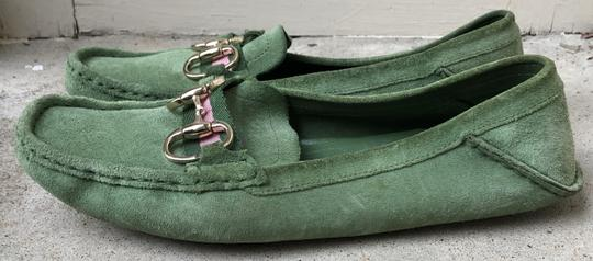Gucci Suede Loafers Green Flats Image 3