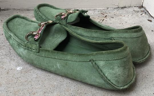 Gucci Suede Loafers Green Flats Image 4