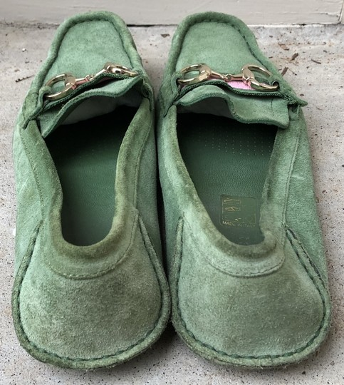 Gucci Suede Loafers Green Flats Image 5