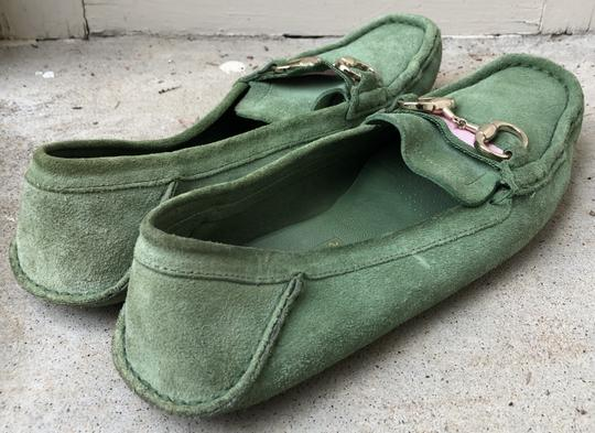 Gucci Suede Loafers Green Flats Image 6