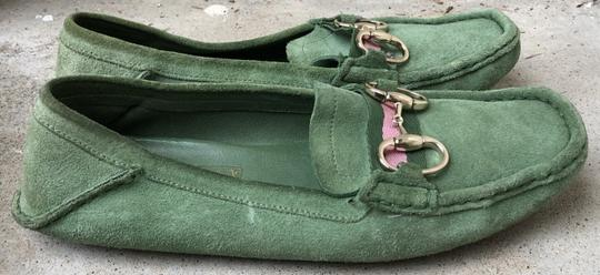 Gucci Suede Loafers Green Flats Image 7