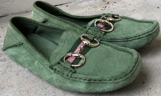 Gucci Suede Loafers Green Flats Image 8