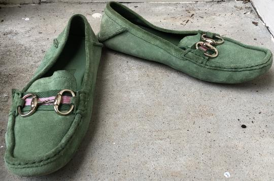 Gucci Suede Loafers Green Flats Image 9