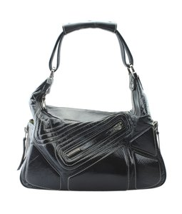 Tod's Patent Leather Italy Pre-owned Silver-tone Shoulder Bag