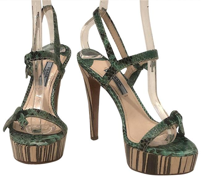 Item - Green Pitone Nature Python In Mango Sandals Size EU 36.5 (Approx. US 6.5) Regular (M, B)