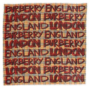 Burberry AUTHENTIC NEW Graffiti-Print Check Wool-Silk Large Square Scarf