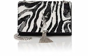 Saint Laurent Ysl Monogram Kate Sequined Satin Zebra Cross Body Bag