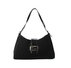 Fendi Hardware Mint Condition Canvas/Leather Tapered Center Style 'mamma Zucco' Shoulder Bag
