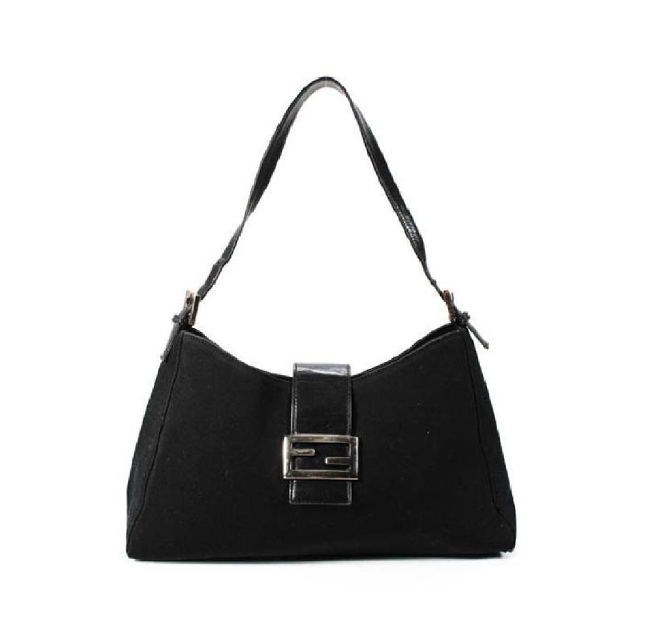 034ce72245 Fendi 'mamma Zucco' Purses Black Canvas and Black Leather with Chrome  Accents Shoulder Bag