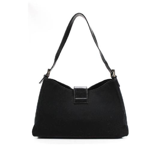 Fendi Hardware Mint Condition Canvas/Leather Tapered Center Style 'mamma Zucco' Shoulder Bag Image 1
