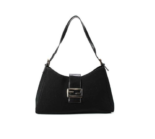 Fendi Hardware Mint Condition Canvas/Leather Tapered Center Style 'mamma Zucco' Shoulder Bag Image 4