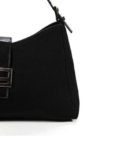 Fendi Hardware Mint Condition Canvas/Leather Tapered Center Style 'mamma Zucco' Shoulder Bag Image 5