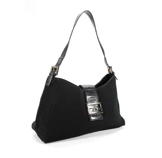 Fendi Hardware Mint Condition Canvas/Leather Tapered Center Style 'mamma Zucco' Shoulder Bag Image 6