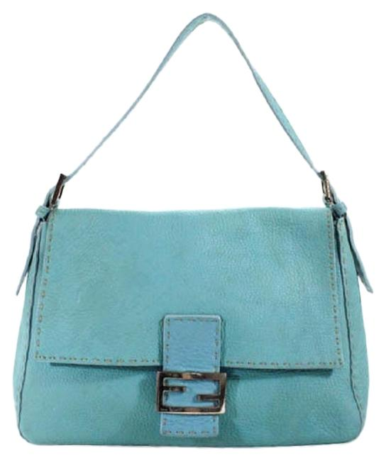 Item - Selleria 'mamma Forever Baguette 635' Turquoise/Taupe/Chrome Leather Shoulder Bag