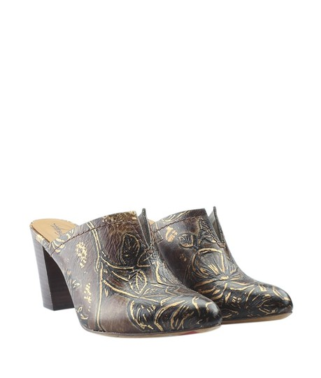 Patricia Nash Leather Box Ruffina Brown Mules