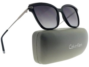Calvin Klein CK1237S-001-55 Square Women's Black Frame Grey Lens Sunglasses NWT