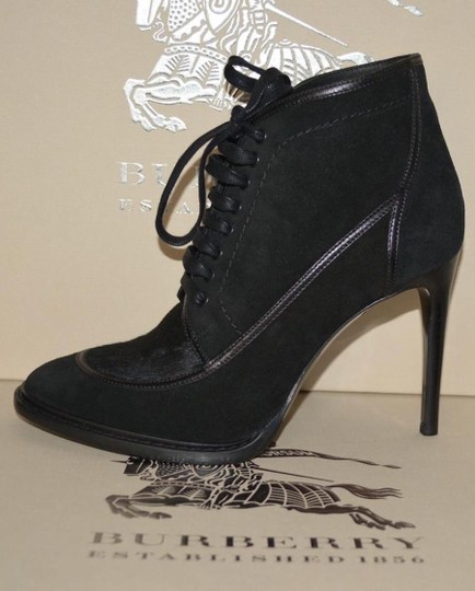 Burberry Prorsum Suede Ankle Calf Hair Black Boots