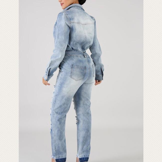 Denim Belted Jumpsuit Dress