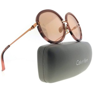 Calvin Klein CK8056S-604-56 Round Women Brown Frame Gold Lens Genuine Sunglasses