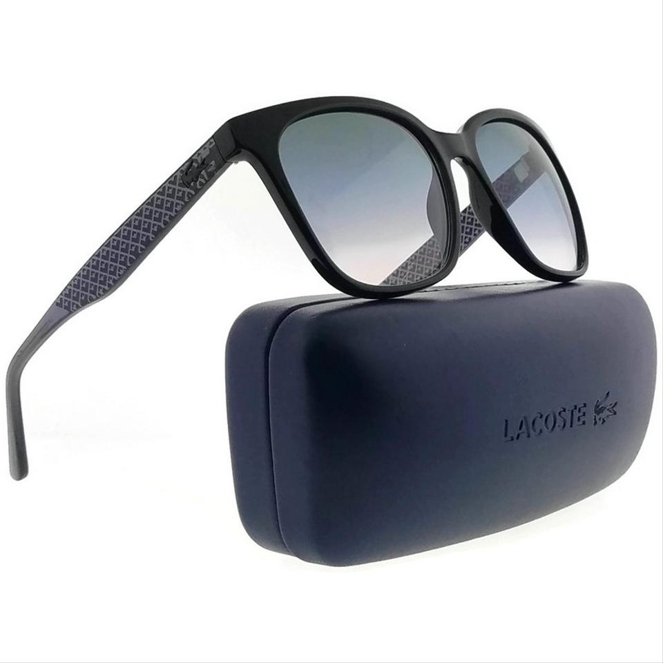 b2332e59774 Lacoste L861S-001-55 Square Women s Black Frame Blue Lens Genuine Sunglasses  Image 0 ...
