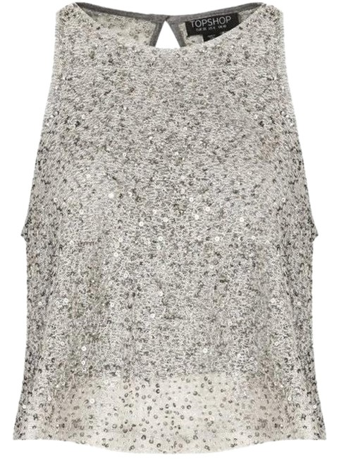 Preload https://img-static.tradesy.com/item/24597662/topshop-silver-sequin-swing-blouse-size-6-s-0-1-650-650.jpg