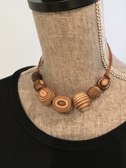 Other Adjustable Etched Wood Choker/Necklace with Double Leather Tie