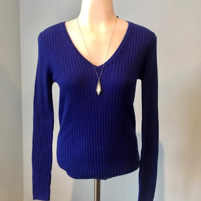 Saks Fifth Avenue Cashmere Cobalt Ribbed Long Sleeve Sweater