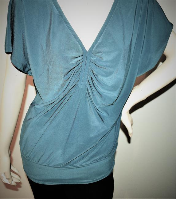 Last Tango V-neck Gathered Bust Ruched Top TEAL