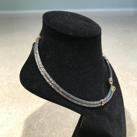 Other Twisted Silver Tone Choker with Gold Tone Accents (15