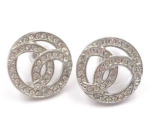 Chanel Chanel Brand New Rare Silver CC Round Piercing Earrings