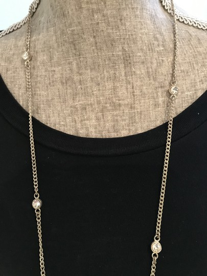 Other Silver Tone Necklace with Bezel-Set Crystals