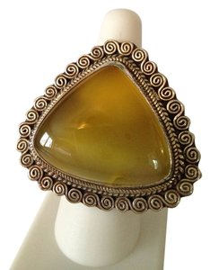 Large Yellow Agate In Sterling Silver Statement Ring, Size 6-12