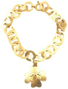 Chanel Chanel Vintage Rare Gold Plated Clover Round Chain Necklace