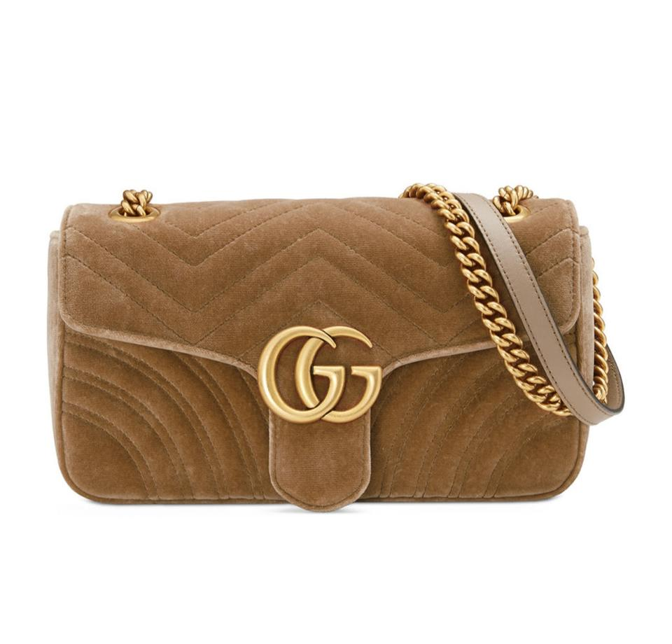 8150461a59c Gucci Marmont Gg Small Quilted Crossbody Brown Velvet Shoulder Bag ...