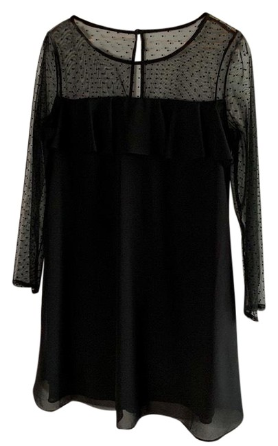 Preload https://img-static.tradesy.com/item/24597959/jessica-howard-black-sheer-mid-length-cocktail-dress-size-petite-14-l-0-1-650-650.jpg