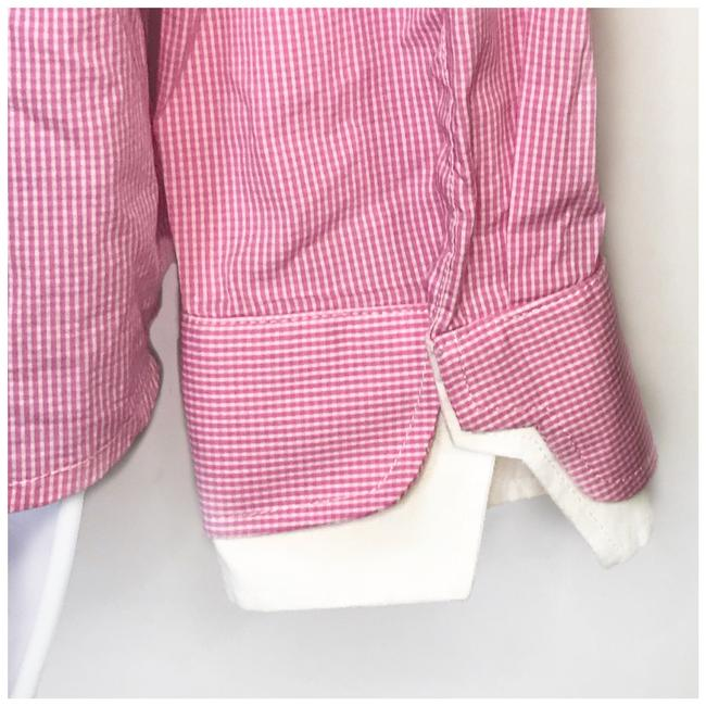 Naracamicie Gingham Double Collar Button Down Shirt Pink/white