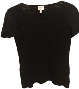 Armani Collezioni Crinkle Short Sleeve Top Black