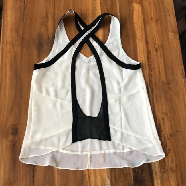 Silence + Noise Top ivory with black trim