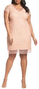 Adrianna Papell Sequin Lace Sheer Vneck Capsleeves Dress