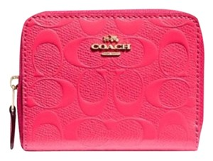 Coach NWT COACH Small Zip Around Wallet In Signature Leather Neon Pink Gold