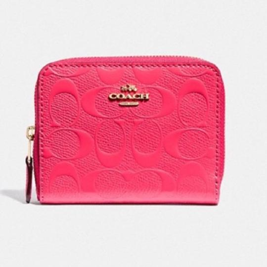 Coach NWT COACH Small Zip Around Wallet In Signature Leather Neon Pink Gold Image 6