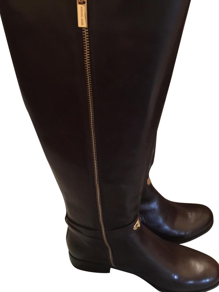 9ceb949c33f2 Michael Kors Chocolate Brown Arley Leather Riding Boots Booties Size ...