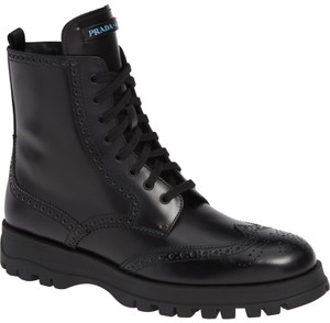 Prada Combat Lace Up Black Leather Boots
