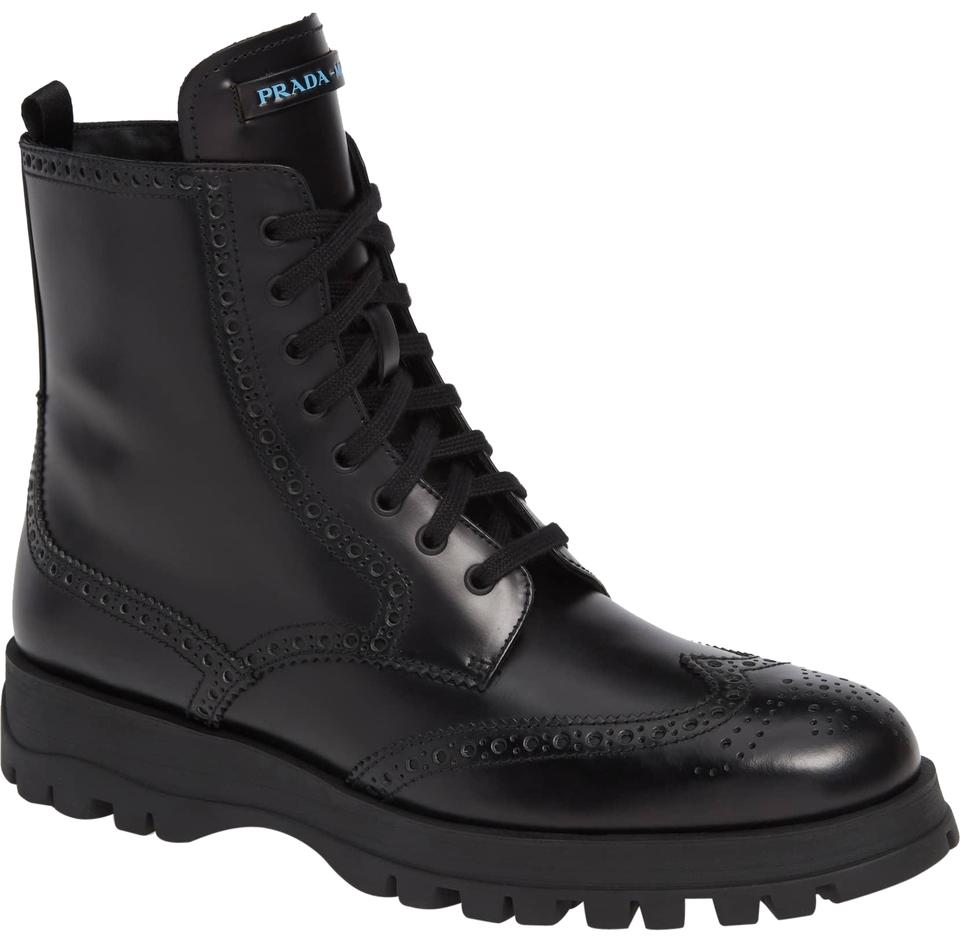 9b2525d1 Prada Black Leather Lace-up Combat Boots/Booties Size EU 39.5 (Approx. US  9.5) Regular (M, B)