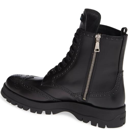 Prada Combat Lace Up Black Leather Boots Image 1
