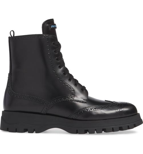 Prada Combat Lace Up Black Leather Boots Image 2