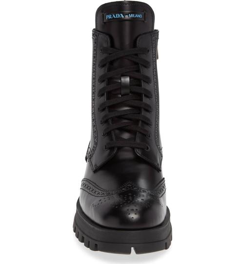 Prada Combat Lace Up Black Leather Boots Image 4