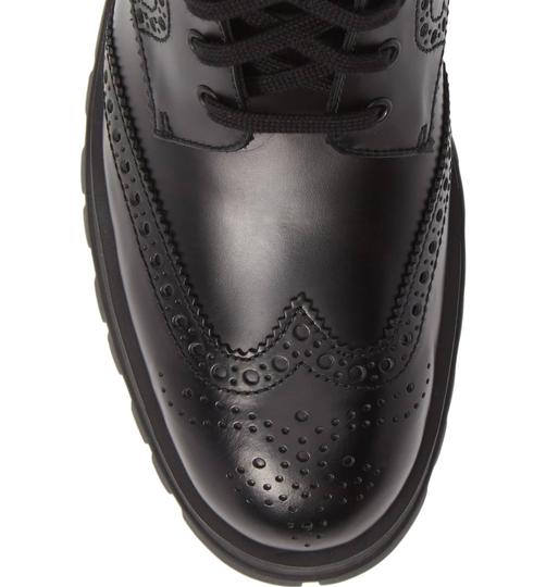 Prada Combat Lace Up Black Leather Boots Image 5