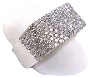 Other Round Diamond Rectangle Cluster Pave Ring Band 14k White Gold 1.71Ct