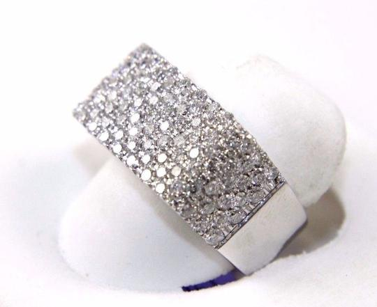 Other Round Diamond Rectangle Cluster Pave Ring Band 14k White Gold 1.71Ct Image 1